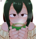 1girl :> aran_sweater asui_tsuyu bare_shoulders black_eyes boku_no_hero_academia cappuccino_(drink) close-up coffee coffee_mug commentary cross-eyed cup english_commentary green_hair highres latte_art long_hair mug off-shoulder_sweater off_shoulder randomboobguy solo sweater white_background