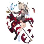 1girl banner blonde_hair blue_butterfly blue_eyes borchardt_c-93 bug butterfly c-93_(girls_frontline) damaged eyebrows_visible_through_hair flag girls_frontline gun handgun helmet insect loafers medal military military_uniform noco_(adamas) official_art pickelhaube pistol pleated_skirt red_legwear shoes skirt solo torn_clothes torn_skirt transparent_background trigger_discipline uniform weapon