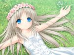 1girl bangs blue_eyes closed_mouth collarbone day dress eyebrows_visible_through_hair flower hair_between_eyes hair_flower hair_ornament head_wreath highres kud_wafter little_busters! long_hair looking_at_viewer lying na-ga noumi_kudryavka on_back outdoors outstretched_arms silver_hair sleeveless sleeveless_dress smile solo sundress underwear very_long_hair white_dress white_flower