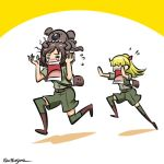 2girls akiyama_yukari alternate_costume animal animal_on_head bag biting black_footwear blonde_hair boots brown_hair brown_shirt closed_eyes commentary crying disguise flying_sweatdrops fume girls_und_panzer green_legwear green_shorts hair_ribbon koala koala_forest_military_uniform kogane_(staygold) lowres medium_hair multiple_girls on_head ponytail red_ribbon ribbon running satchel shadow shirt short_hair short_sleeves shorts thigh-highs twitter_username wallaby_(girls_und_panzer)