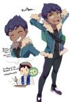 2boys black_hair blush chokutsuu_(menino) closed_eyes cooking fur-trimmed_jacket fur_trim gen_5_pokemon grin hat highres hop_(pokemon) jacket looking_at_viewer masaru_(pokemon) multiple_boys open_mouth pokemon pokemon_(game) pokemon_swsh pot purple_hair simple_background smile solosis sparkle stirring thought_bubble white_background ||_||