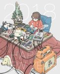 1girl 2018 absurdres adidas amplifier animal brown_hair cable coffee coffee_mug commentary cup dog effects_pedal english_text famicom game_boy game_console grey_background handheld_game_console happy_new_year headphones highres instrument inu-hariko jacket kadomatsu kagami_mochi kotatsu long_sleeves looking_down microphone mug music nakamori_kemuri new_year original pop_filter short_hair simple_background sitting synthesizer table track_jacket zaisu