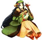 androgynous azk_kikaku black_hair book boots brown_gloves glasses gloves green_headwear green_robe hat_ornament long_hair original potion red_eyes sitting very_long_hair vial