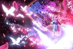 1girl abstract_background arm_garter arms_at_sides blue_bow blue_headwear blue_kimono bow bug butterfly cherry_blossom_print cherry_blossoms circle closed_eyes commentary danmaku floating floating_hair floral_print frilled_hat frills full_body glowing goshoguruma hands_up hat insect japanese_clothes kimono light_particles long_sleeves mob_cap obi outstretched_arms outstretched_hand petals pink_hair ribbon ribbon_trim saigyouji_yuyuko saigyouji_yuyuko's_fan_design sash shippou_(pattern) short_hair solo spell_card sunyup touhou triangular_headpiece veil white_ribbon wide_sleeves