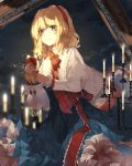 1girl alice_margatroid artist_name blonde_hair blue_dress blue_eyes blurry blurry_background candelabra candle candlestand capelet clouds cowboy_shot dated depth_of_field doll dress frilled_skirt frills hairband highres holding holding_doll light_smile ling_mou lolita_hairband looking_at_viewer neck_ribbon night night_sky outdoors petticoat picture_frame red_neckwear ribbon sash shanghai_doll short_hair skirt sky solo standing star_(sky) starry_sky symbol_commentary touhou white_capelet