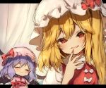 2girls :d ^_^ bangs bat_wings blonde_hair blue_hair blush bow chibi closed_eyes commentary_request dress eyebrows_visible_through_hair fang fingernails flandre_scarlet hair_between_eyes hand_up hat hat_bow head_tilt letterboxed long_hair mob_cap multiple_girls one_side_up open_mouth pink_dress pink_headwear piyokichi puffy_short_sleeves puffy_sleeves red_bow red_eyes red_nails red_sash red_vest remilia_scarlet sash sharp_fingernails short_hair short_sleeves sketch smile touhou upper_body vest wavy_mouth white_headwear wings