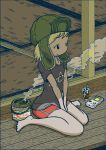 1girl blonde_hair commentary game_boy glass handheld_game_console hat mosquito_coil nakamori_kemuri original revision shirt shorts sitting smoke solo t-shirt tatami wariza