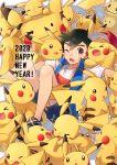 >_< 1boy black_hair brown_eyes ditto gen_1_pokemon gen_7_pokemon highres looking_at_viewer mimikyu ochi_(lokun) one_eye_closed pikachu pokemon pokemon_(anime) pokemon_(game) pokemon_sm pokemon_sm_(anime) satoshi_(pokemon) too_many too_many_pikachu transform_(pokemon) transformed_ditto