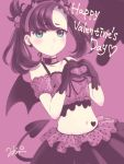 1girl arm_strap asymmetrical_bangs bangs black_gloves black_hair black_skirt black_wings blush bow choker closed_mouth collarbone crop_top demon_tail demon_wings eyebrows_visible_through_hair floating_hair frilled_bow frills gloves green_eyes hair_bow hairband happy_valentine heart heart_hands long_hair looking_at_viewer mary_(pokemon) midriff mio_momalulu navel pink_background pink_bow pink_hairband pokemon pokemon_(game) pokemon_swsh polka_dot polka_dot_bow shiny shiny_hair skirt solo stomach tail twintails wings