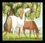 animal black_border blue_sky border day grass hill horse no_humans original outdoors plant signature sky takigraphic tree white_horse