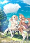 2girls animal_ears bench beniimo_danshaku commentary_request elbow_gloves eyebrows_visible_through_hair fur_collar fur_trim gloves hands_in_pockets horns japanese_wolf_(kemono_friends) kemono_friends kemono_friends_3 light_brown_hair light_brown_legwear long_hair long_sleeves multicolored_hair multiple_girls official_art pantyhose plaid plaid_neckwear plaid_skirt pleated_skirt puffy_coat sheep_(kemono_friends) sheep_ears sheep_girl sheep_horns sheep_tail shoes short_hair sitting skirt sneakers sweater tail thigh-highs vest white_gloves white_hair white_legwear wolf_ears wolf_girl wolf_tail yellow_eyes zettai_ryouiki