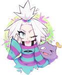 1girl blue_eyes breasts commentary creature dress english_commentary fangs floating gen_1_pokemon hair_bobbles hair_ornament heart highres koffing milka_(milk4ppl) one_eye_closed pokemon pokemon_(creature) sleeves_past_wrists small_breasts striped striped_dress tied_hair tongue tongue_out upper_body v white_hair