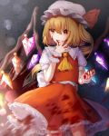 1girl blonde_hair blood blood_on_face blood_splatter bloody_hands blue_background bob_cut commentary cowboy_shot cravat english_commentary finger_licking flandre_scarlet gradient gradient_background grey_background hair_between_eyes hat hat_ribbon highres licking light_particles looking_to_the_side mob_cap mozuno_(mozya_7) one_side_up petticoat puffy_short_sleeves puffy_sleeves red_eyes red_skirt red_vest ribbon shirt short_hair short_sleeves skirt solo standing tongue tongue_out touhou vest white_headwear white_shirt wings yellow_neckwear