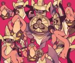 aegislash blush closed_eyes creature eye_contact frown gen_6_pokemon gourgeist helmet holding holding_hands holding_pokemon holding_sword holding_weapon looking_at_another maru_(umc_a) no_humans pink_background pokemon pokemon_(creature) sad shield simple_background smile standing sweat sword tears violet_eyes weapon yellow_eyes