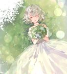 1girl azuchi bangs bare_shoulders blush bouquet choker closed_eyes closed_mouth dress flower grass holding holding_bouquet long_dress lying on_back on_ground original short_hair sleeveless sleeveless_dress solo wedding_dress white_dress white_hair