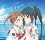 2girls ;) bangs black_hair blue_eyes blue_sky brown_hair closed_mouth clouds collarbone collared_shirt day disc_cover eyebrows_visible_through_hair hair_between_eyes hair_ribbon high_ponytail high_school_fleet highres holding_hands interlocked_fingers long_hair misaki_akeno multiple_girls munetani_mashiro neckerchief ocean one_eye_closed outdoors red_eyes red_neckwear ribbon sailor_collar sailor_shirt shiny shiny_hair shirt short_sleeves sky smile twintails very_long_hair white_ribbon white_sailor_collar white_shirt yellow_ribbon