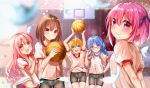 5girls absurdres arms_behind_back arms_up basketball basketball_hoop bike_shorts black_shorts blonde_hair blue_eyes blue_hair braid brown_eyes brown_hair buruma commentary_request feathers glasses groin gym_uniform hakamada_hinata hand_on_eyewear hand_on_hip highres huge_filesize indoors kashii_airi long_hair minato_tomoka misawa_maho multiple_girls nagatsuka_saki open_mouth pink_eyes pink_hair purple_hair red_buruma ribbon rou-kyuu-bu! shirt short_hair shorts side_ponytail smile thigh_gap twin_braids twintails very_long_hair violet_eyes white_shirt