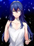 1girl ameno_(a_meno0) bangs bare_arms blue_eyes blue_hair blurry blurry_background breasts collarbone commentary_request eyelashes fire_emblem fire_emblem_awakening hair_between_eyes hand_on_own_shoulder hand_up long_hair looking_at_viewer lucina_(fire_emblem) open_hand shiny shiny_hair shirt sidelocks sleeveless small_breasts smile snow solo tiara upper_body white_shirt