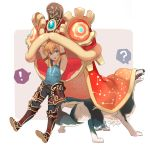 ! ? animal_costume armband black_pants blonde_hair blue_eyes blue_shirt cuffs dragon_costume link link_(wolf) long_hair looking_at_viewer natsuyon new_year pants shackles shirt shoes spoken_exclamation_mark spoken_question_mark tank_top the_legend_of_zelda the_legend_of_zelda:_breath_of_the_wild the_legend_of_zelda:_twilight_princess