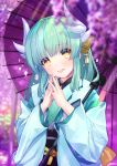 1girl aqua_hair atori blurry depth_of_field dragon_horns fate/grand_order fate_(series) flower hair_ornament hands_up highres horns japanese_clothes kimono kiyohime_(fate/grand_order) light_rays long_hair long_sleeves looking_at_viewer obi open_mouth oriental_umbrella purple_flower sash smile solo sunbeam sunlight umbrella upper_body wisteria yellow_eyes