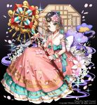 1girl apple_caramel arcana_tactics artist_name bird black_background black_headwear blue_bow blue_eyes bow brown_hair check_copyright company_name dress dress_bow dress_flower highres holding holding_staff official_art pink_dress short_hair smile staff swan