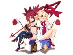 2girls bag blonde_hair boots bow breasts demon_girl demon_tail disgaea earrings etna flonne flonne_(fallen_angel) gloves hair_bow high_heels iwasi-r jewelry long_hair makai_senki_disgaea multiple_girls navel pointy_ears polearm prinny red_eyes redhead skull_earrings small_breasts spear tail thigh-highs thigh_boots weapon