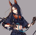 1girl animal_ears arknights black_hair breasts brown_gloves choker commentary dobermann_(arknights) dog_ears gloves grey_background hachizowo highres long_hair medium_breasts midriff mole mole_under_eye red_eyes simple_background solo upper_body whip