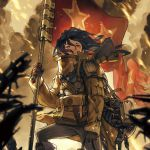 1girl backpack bag banner black_hair blurry brown_gloves cinders coat commentary_request depth_of_field flag gloves glowing glowing_eyes goggles goggles_around_neck highres leather leather_gloves long_hair looking_at_viewer military military_uniform motion_blur nc_empire_(circle) original pants red_eyes red_flag rifle_on_back satchel smoke soldier solo standard_bearer tattered_flag uniform