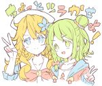 >:) 2girls :d bangs blonde_hair blue_eyes blue_flower blush bow closed_mouth collarbone colored_eyelashes commentary_request cropped_torso double_bun drawstring eyebrows_visible_through_hair flower green_eyes green_hair hair_between_eyes hair_flower hair_ornament hand_up head_scarf jacket long_hair long_sleeves looking_at_viewer meito_(maze) morinaka_kazaki multiple_girls nijisanji open_clothes open_jacket open_mouth otogibara_era pink_jacket red_bow sailor_collar simple_background sleeves_past_wrists smile translation_request upper_body v v-shaped_eyebrows virtual_youtuber white_background white_sailor_collar