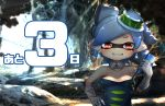 +_+ 1girl bangs bare_shoulders black_dress blush breasts breasts_apart collarbone day domino_mask dress earrings gloves grey_hair grin hand_on_hip hand_up happy highres holding hotaru_(splatoon) inkling jewelry kashu_(hizake) looking_at_viewer mask medium_breasts mole mole_under_eye number object_on_head outdoors picture_(object) pointy_ears red_eyes shiny shiny_hair shiny_skin short_hair smile solo splatoon_(series) splatoon_1 squidbeak_splatoon strapless strapless_dress teeth tied_hair translation_request tree upper_body white_gloves