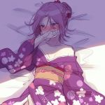 1girl absurdres bangs bare_shoulders bed_sheet blush braid breasts collarbone covered_mouth eyebrows_visible_through_hair floral_print flower hair_bun hair_flower hair_ornament highres ichiren_namiro japanese_clothes kimono long_sleeves looking_away looking_to_the_side lying nose_blush obi off_shoulder on_back parted_bangs princess_connect! princess_connect!_re:dive print_kimono purple_hair purple_kimono red_flower sash shirogane_jun sketch small_breasts solo violet_eyes wide_sleeves