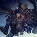 1girl arms_up belt_boots blue_background blue_eyes blue_hair blue_sky boots breasts commentary commentary_request crop_top detached_sleeves falling glowing glowing_eyes heat_sink highres lips logo looking_at_viewer messy_hair nc_empire_(circle) original parted_lips rigging rust short_hair shorts sky small_breasts solo speaker striped striped_legwear subdermal_port thigh-highs thrusters vernier_thrusters vertical-striped_legwear vertical_stripes