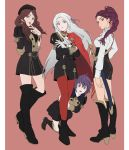 4girls azkn bernadetta_von_varley boots bracelet braided_ponytail brown_hair cape crossed_arms dorothea_arnault dress earrings edelgard_von_hresvelg fire_emblem fire_emblem:_three_houses garreg_mach_monastery_uniform gloves hat hiding highres jewelry long_hair multiple_girls pantyhose petra_macneary purple_hair red_background red_legwear sword thigh-highs thigh_boots weapon white_gloves white_hair