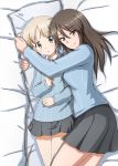 1girl aki_(girls_und_panzer) bangs bed_sheet blue_shirt brown_eyes brown_hair closed_mouth dakimakura_(object) dress_shirt eyebrows_visible_through_hair girls_und_panzer green_eyes grey_skirt highres keizoku_school_uniform light_brown_hair long_hair long_sleeves looking_at_viewer mika_(girls_und_panzer) miniskirt no_hat no_headwear omachi_(slabco) on_bed parted_lips pillow pillow_hug pleated_skirt school_uniform shirt short_hair short_twintails skirt smile solo striped striped_shirt twintails vertical-striped_shirt vertical_stripes white_shirt wing_collar