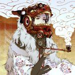 1girl black_hair brown_eyes commentary_request crossed_arms floral_print fur_trim hair_ornament hand_up helmet highres holding japanese_clothes kanzashi kimono kiseru looking_ahead mask mole mole_under_eye nc_empire_(circle) oiran original pale_skin pipe red_eyeshadow shishimai sitting smoke smoking solo space_helmet speaker tile_wall tiles tube whorled_clouds