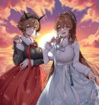 2girls altearppp black_jacket breasts brown_hair clouds dress fur-trimmed_jacket fur_trim girls_frontline green_eyes hair_rings hairband jacket kantai_collection korean_commentary large_breasts long_hair m1903_springfield_(girls_frontline) multiple_girls mutsu_(kantai_collection) ocean open_mouth ponytail radio_antenna red_dress short_hair sidelocks sky smile sun sunset white_dress white_jacket