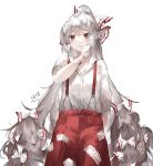 1girl arm_at_side arm_up artist_name bandaged_arm bandages blood bloody_bandages chinese_commentary commentary_request cowboy_shot dated expressionless fujiwara_no_mokou hair_between_eyes hair_ribbon highres ling_mou long_hair mouth_hold ofuda pants ponytail red_eyes red_pants ribbon shirt silver_hair simple_background sleeves_past_elbows solo standing suspenders touhou very_long_hair white_background white_shirt