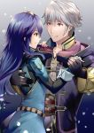 1boy 1girl ameno_(a_meno0) bangs belt blue_background blue_dress blue_eyes blue_gloves blue_hair blue_shirt collarbone collared_shirt commentary_request couple dancing dress eyelashes fingerless_gloves fire_emblem fire_emblem_awakening from_side gloves gold_trim gradient gradient_background grey_background grey_shirt hair_between_eyes hand_on_another's_back hand_on_another's_shoulder holding_hands looking_at_another lucina_(fire_emblem) purple_robe ribbed_sweater robe robin_(fire_emblem) robin_(fire_emblem)_(male) shiny shiny_hair shirt shoulder_armor sidelocks silver_hair smile snowing sweater tiara upper_body yellow_eyes