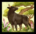 animal_focus black_border border bull flower grass no_humans original outdoors pink_flower plant purple_flower signature takigraphic tree