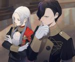 1boy 1girl black_hair closed_mouth crossed_arms edelgard_von_hresvelg epaulettes fire_emblem fire_emblem:_three_houses garreg_mach_monastery_uniform gloves hair_over_one_eye hair_ribbon hubert_von_vestra kyufe long_hair long_sleeves parted_lips ribbon short_hair uniform violet_eyes white_gloves white_hair