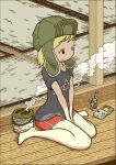 1girl blonde_hair commentary game_boy glass handheld_game_console hat mosquito_coil nakamori_kemuri original shirt shorts sitting smoke solo t-shirt tatami wariza