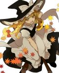 1girl apron autumn_leaves back_bow bangs black_dress black_footwear black_headwear black_vest blonde_hair bobby_socks bow braid broom broom_riding dress falling_leaves frilled_hat frills hair_bow hand_on_headwear hand_up hat hat_bow joniko1110 kirisame_marisa leaf long_hair looking_at_viewer open_mouth red_bow shirt short_sleeves smile socks solo touhou vest waist_apron white_background white_bow white_legwear white_shirt wind witch_hat yellow_eyes