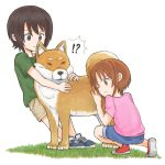 !? 2girls bangs blue_footwear blue_shorts brown_eyes brown_hair brown_shorts closed_mouth commentary dog frown girls_und_panzer grass green_shirt multiple_girls mutsu_(layergreen) nishizumi_maho nishizumi_miho one_eye_closed pink_shirt pulling pushing red_footwear shiba_inu shirt shoes short_hair short_sleeves shorts siblings sisters smile sneakers squatting standing straight-laced_footwear t-shirt white_background younger