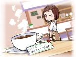 1girl ;) apron bang_dream! bangs blush brown_eyes brown_hair cafe chair coffee coffee_mug commentary_request cup cupboard dutch_angle facing_viewer hair_ornament hairclip hazawa_tsugumi highres index_finger_raised indoors kyou_(user_gpks5753) menu_board mug one_eye_closed plant plate potted_plant shirt short_hair sleeves_rolled_up smile steam table translation_request white_shirt