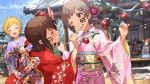 blush brown_eyes brown_hair hakozaki_serika idolmaster_million_live!_theater_days kimono long_hair new_year smile twintails wink