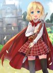 1girl bangs black_legwear blonde_hair blue_eyes blush bow breasts cape castle commentary_request day eyebrows_visible_through_hair highres holding holding_sword holding_weapon large_breasts long_sleeves mori_airi open_mouth original outdoors red_bow red_cape red_skirt skirt smile solo sword thigh-highs weapon