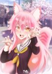 animal_ears cherry_blossoms commentary_request fangs highres murenase!_shiiton_gakuen okami_ranka open_mouth orange_eyes pink_hair school_uniform shiiton_gakuen_school_uniform tree wolf_girl zendrawr