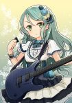 1girl aqua_hair bang_dream! barashiya bow commentary dress electric_guitar eyebrows_visible_through_hair floral_background flower frilled_cuffs green_bow green_eyes guitar hair_flower hair_ornament highres hikawa_sayo holding holding_instrument instrument layered_dress long_hair looking_at_viewer outline parted_lips plectrum short_dress short_sleeves solo standing white_dress white_outline wrist_cuffs
