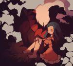 1girl barefoot black_hair blush carrying closed_eyes creature darkrai dress gen_4_pokemon hikari_(pokemon) legendary_pokemon long_hair maru_(umc_a) pokemon pokemon_(creature) pokemon_(game) pokemon_dppt princess_carry sleeping