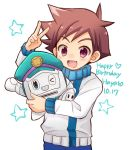 >_o 1boy blush brown_hair chana_gon character_name dated happy_birthday hayasugi_hayato looking_at_viewer one_eye_closed open_mouth shinkansen_henkei_robo_shinkalion spiky_hair sweater v violet_eyes